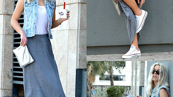 Jersey Maxi Skirt, Studded Jean Vest and Converse Sneakers | Style LimeLight