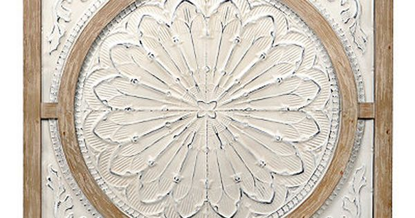 Cream Metal And Wood Medallion Wall Plaque