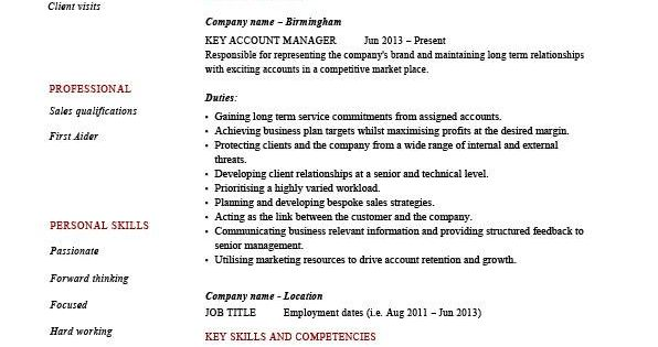 Key Account Manager Resume, Customers, Job Description, CV