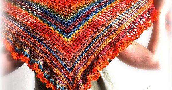 Crochet Yoh : Triangular Gypsy Shawl by Izabela Motyl crochet Pinterest Shawl ...