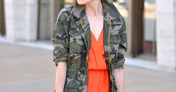 http://eatsleepwear.com/ Camouflage jacket over an orange dress.