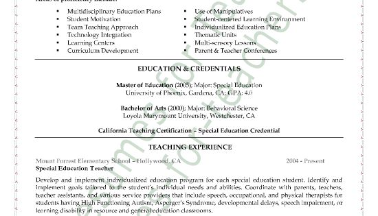 special education teacher resume sample page 1 teaching resume and special education - Sample Special Education Teacher Resume