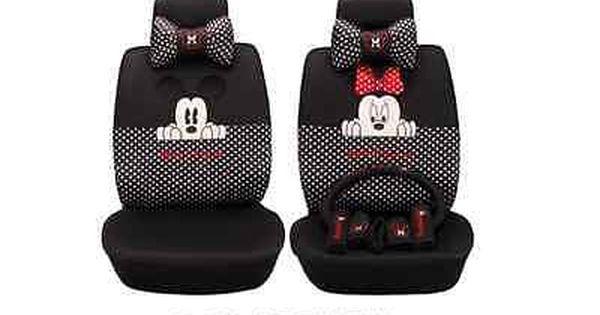 On Sale Mickey Minnie Mouse Car Seat Covers Cushion Accessories Set 18pcs Black Disney Car Accessories Minnie Mouse Car Seat Car Seats