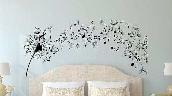 Dandelion Wall Decal camera da letto-musica nota parete ...