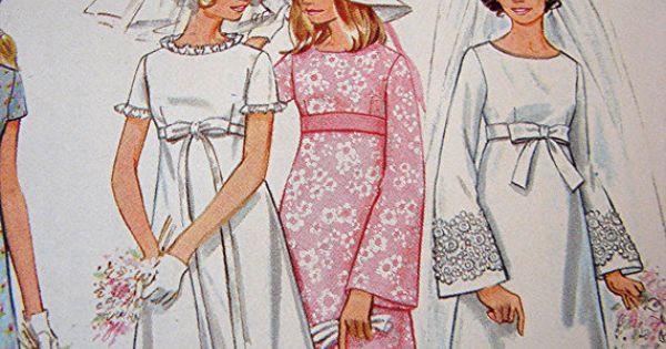 1960s vintage wedding dress pattern butterick empire waist for Empire waist wedding dress patterns
