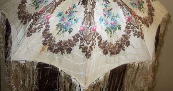 Warp-printed moire parasol with hand-knotted silk fringe c ...