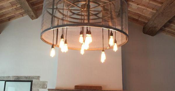 Lampe Suspension Industrielle Ampoule Filament R Alisation Sur Mesure De Cette Lampe