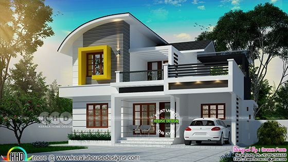 24 Lakhs Cost Estimated Beautiful Mixed Roof Kerala House Design Building Plans House House Design Small contemporary house plans kerala