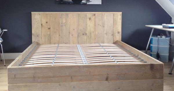 Steigerhouten twee persoons bed idee n voor het huis pinterest slaapkamer bedden en voor - Modern bed volwassen ...