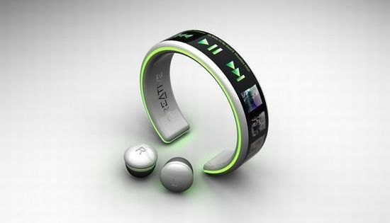 Bracelet mp3 player creative cordless ear buds!