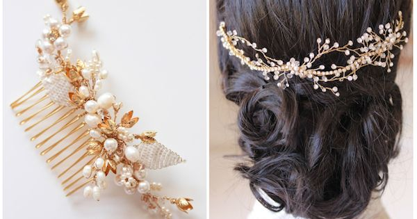 Gold bridal headpieces - handmade details, freshwater pearls and sparkly crystals |
