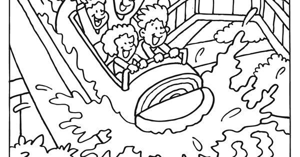 kleurplaat wildwaterbaan schoolreis kleurplaten nl