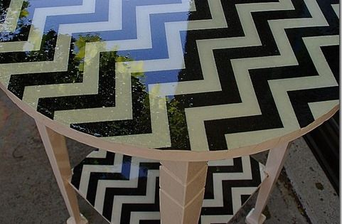 Mod Podge fabric to a side table, pour resin on top, let