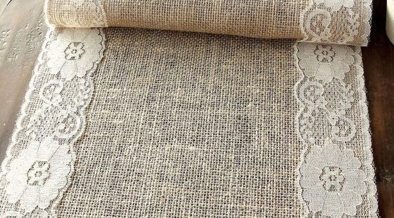 Burlap table runner - very pretty lace tablerunner natural neutral weddingtables