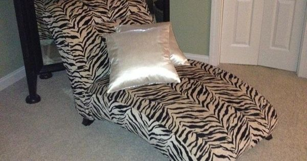 Zebra print chaise lounger in bujas stuff 39 s garage sale in for Animal print chaise longue