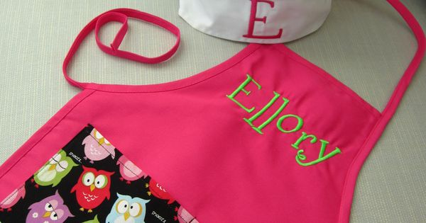 personalized kids apron and chef hat