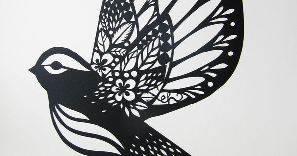 PAPERCUT BIRDS by Emily Hogarth. A collection of papercut birds with patterned