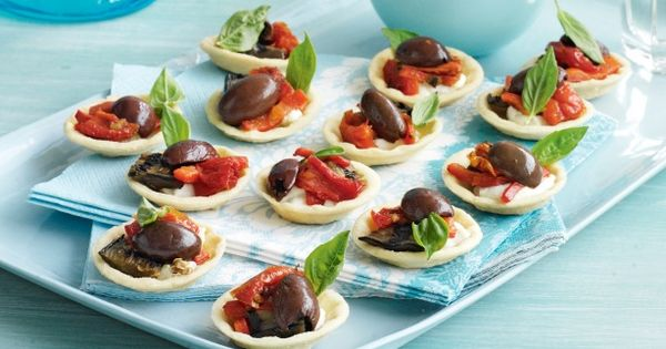 Olive goats cheese chargrilled vegetable tarts recipe for Buy canape shells