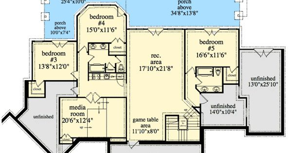 Plan 29876rl mountain ranch with walkout basement - Mountain home plans with walkout basement ...