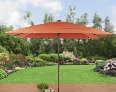 Red Rectangular Aluminum Market Umbrella Solar Lighted Patio Canopy 8 X 11 Ft Ebay In 2020 Rectangular Patio Umbrella Patio Umbrella Patio