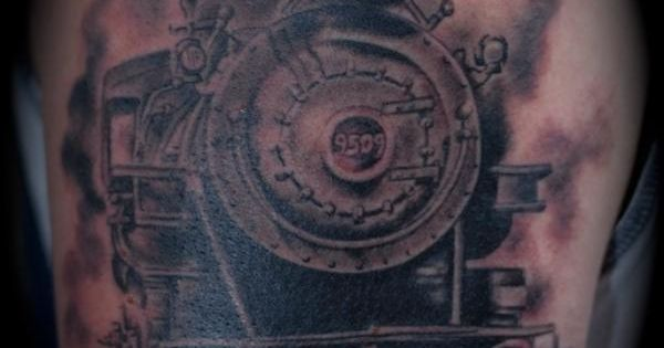 Train engine tattoo by randall at visua ink heaven for Crazy train tattoos