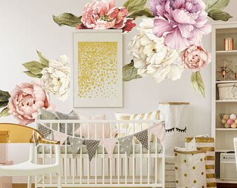 Wall Murals Etsy Floral Wall Decals Flower Wall Decals Floral Wall