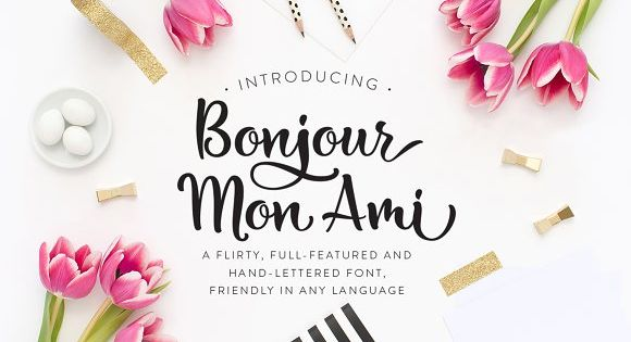 Bonjour Mon Ami Font – a flirty, full-featured and hand-lettered font.