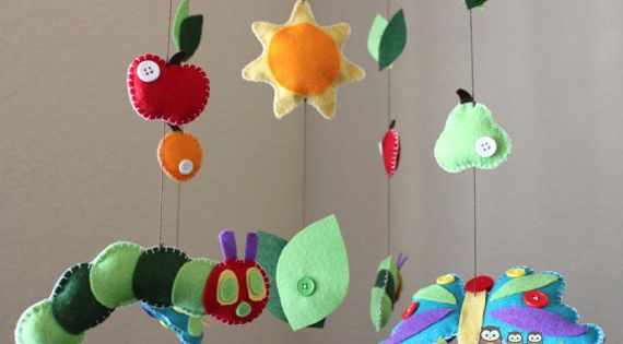 """Baby Crib Mobile - Baby Mobile - Nursery Caterpillar Butterfly Mobile """"Inspired"""