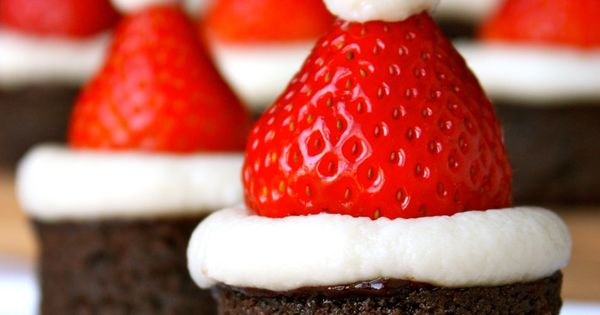 Santa Hat Brownie Bites. Cute idea for a holiday dessert platter.