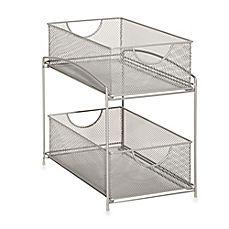 Mind Reader 2 Tier Mesh Storage Baskets In Silver Storage Baskets Cabinets Organization Mind Reader