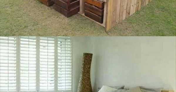 lit en palettes avec tiroirs en cajettes diy pinterest palette et lit en palette. Black Bedroom Furniture Sets. Home Design Ideas