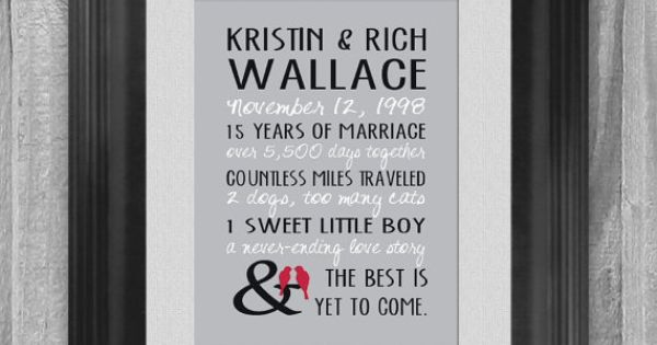 15 Year Wedding Anniversary Gift For Husband: Personalized Wedding Anniversary Gift 5, 10, 15 Year Our