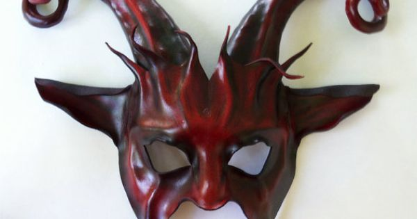 leather goat mask with curled horns dark red and black by teonova