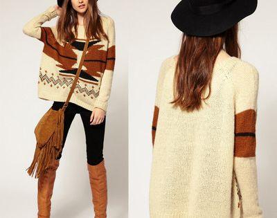 Vintage Womens Aztec Knitted Scoop Neckline Geometry Sweater Knitwear Cardigan | eBay