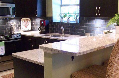 Love this kitchen remake dark cabinets and greys after 7 for Kitchen remake ideas