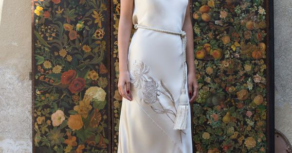 Marei 1998 Acacia Draped Back Embroidered Silk Dress Embroidered Silk Dresses Strapless Dress Formal Silk Dress