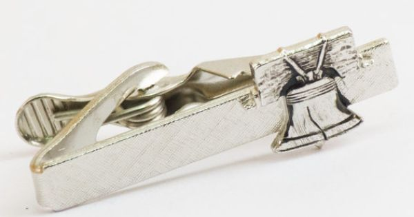 Vintage Tie Clip  Liberty Bell Silver Tone Tie by CuffsandClips, $15.50