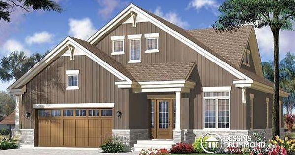 W3608 plan de maison pour terrain troit style for Garage plan de campagne