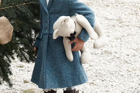 I absolutely love this little girls sweet winter outfit. blue swing jacket