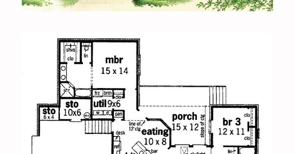 Colonial house plan 65622 total living area 1800 sq ft for 1800 sq ft house plans with walkout basement