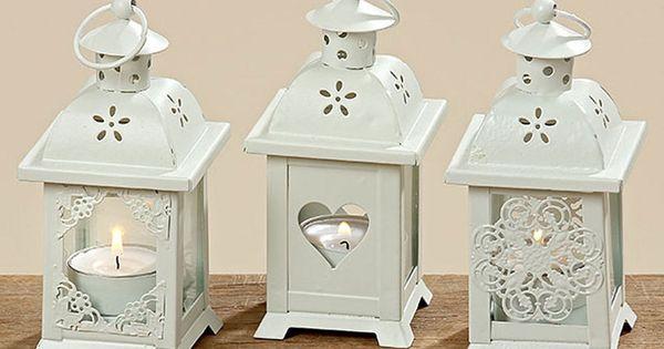 Lanterna con cuore set di 3 a vento legno decorazione for Decorazione giardino matrimonio