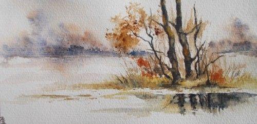 Aquarelle Abby Carte Voeux Neige Paysage Comment Peindre