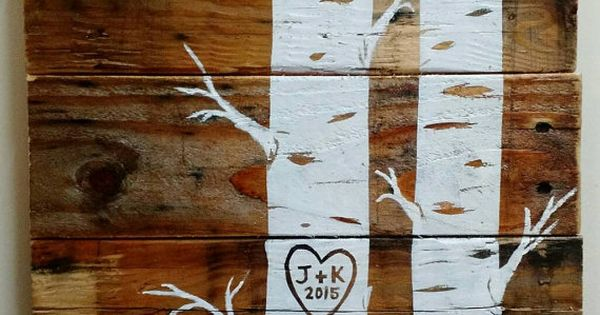 Custom Quaking Aspens with initials and date Pallet Art, Wood Sign, Wall