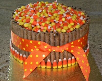 thanksgiving cake pirouettes ribbon | barrel cake yellow cake chocolate buttercream with