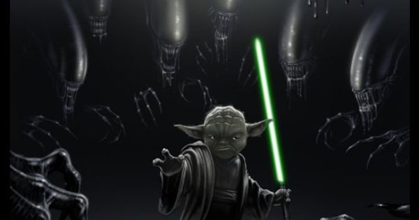 Yoda Vs. Aliens - Badass Fan Art
