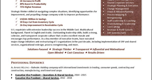 international executive coo resume example