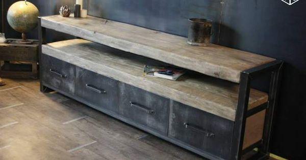 Bahut bois m tal meuble tv meuble industriel ameublement for Meuble tv ware