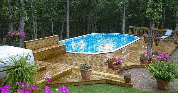 Decks For Above Ground Pools This Above Ground Oval Pool
