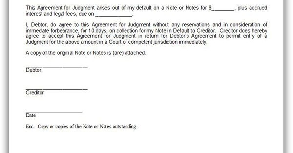 Free Printable Agreement For Judgment By Debtor  Sample
