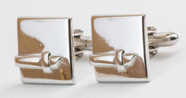 Vintage Cufflinks Reflective Silver Toned Metal by CuffsandClips, $16.60